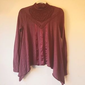 Free People burgundy lace crochet Turtleneck boho